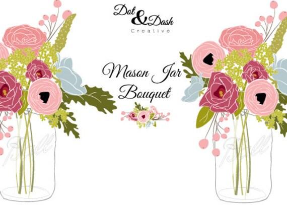 peony mason jar bouquet digital