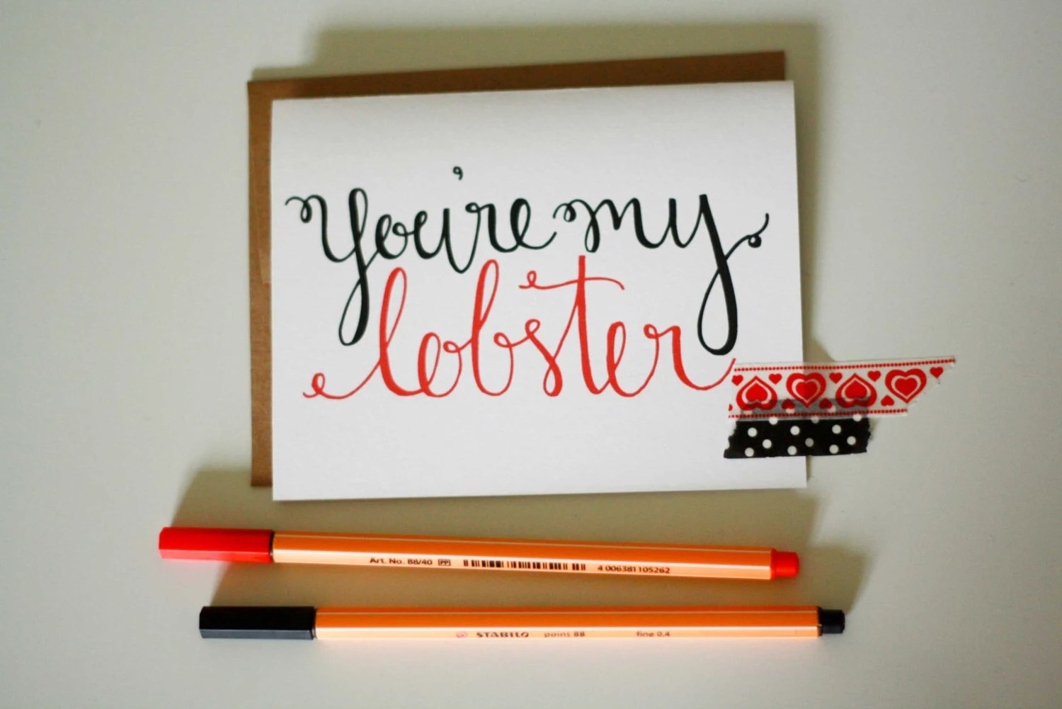 You're my Lobster Hand Lettered card - LauraFrancesDesigns