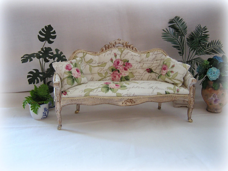 dollhouse sofa covers for pets walmart miniature shabby chic by miniabuela on etsy