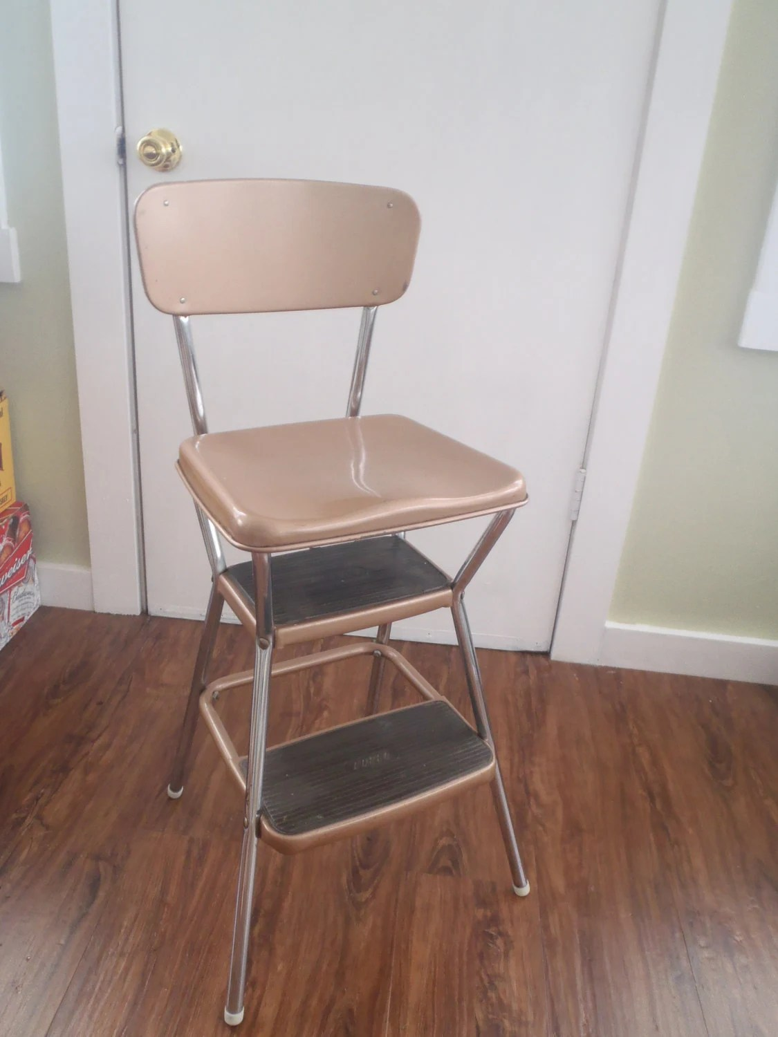 Vintage Cosco Kitchen Step Stool Chair with Flip Up Seat All