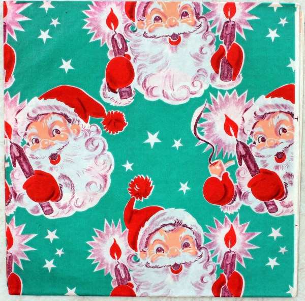 Vintage Christmas Wrapping Paper Santa Claus 1950s