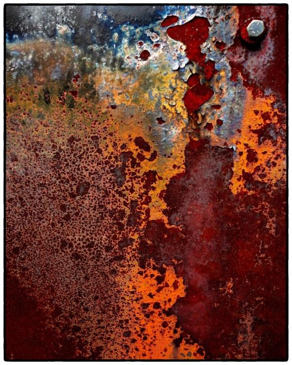 Rust Abstract 8 X 10 Fine Art Yellow Orange Blue