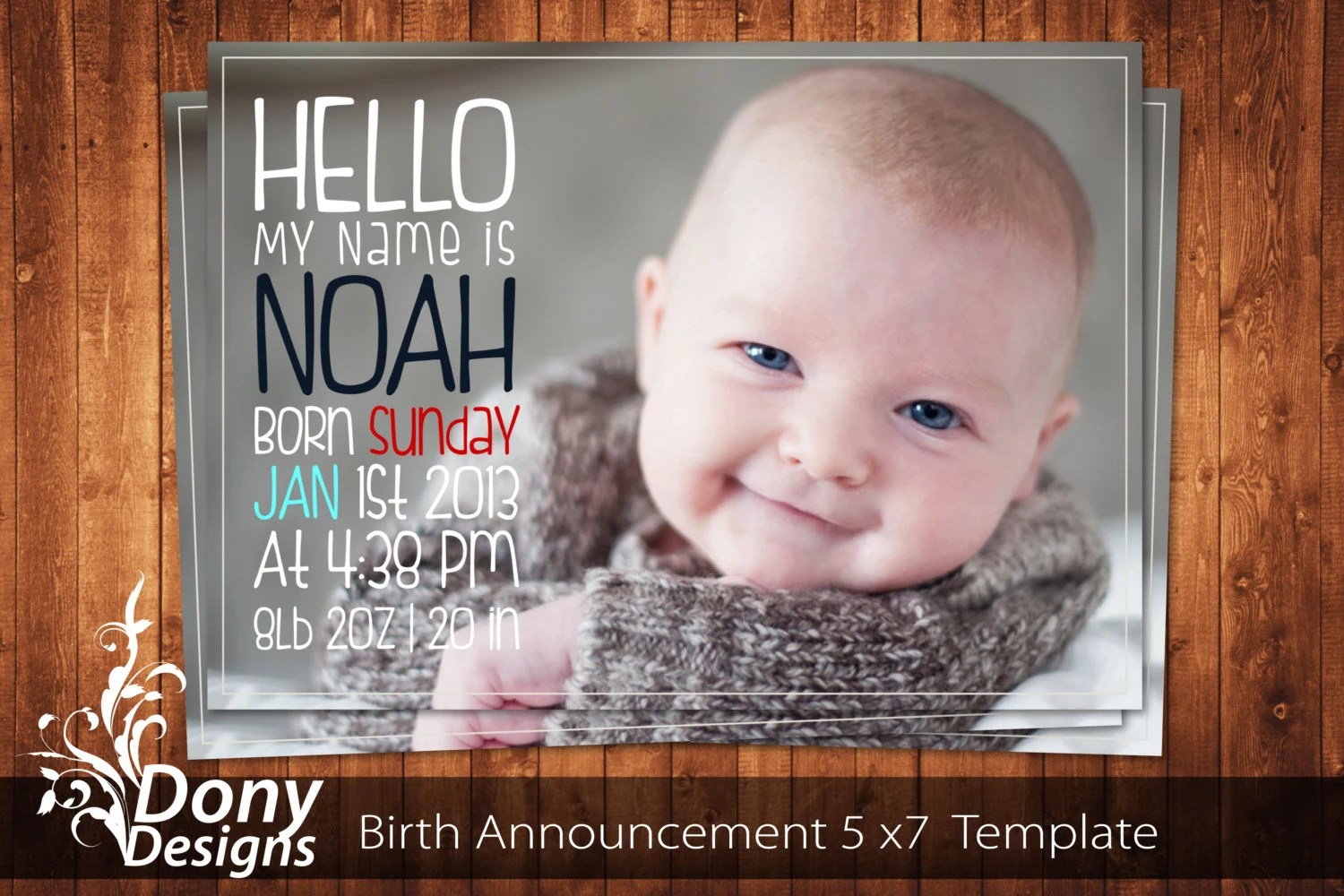 BUY 1 GET 1 FREE Birth Announcement Neutral Baby By DonyDesigns