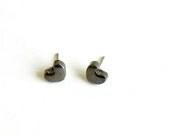 Bronze Black Heart Stud Earrings, Small Minimalist Ceramic Posts - LemoneRouge