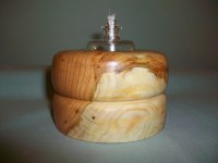 Lamp oil /tea light made from Cherry burl wood.
