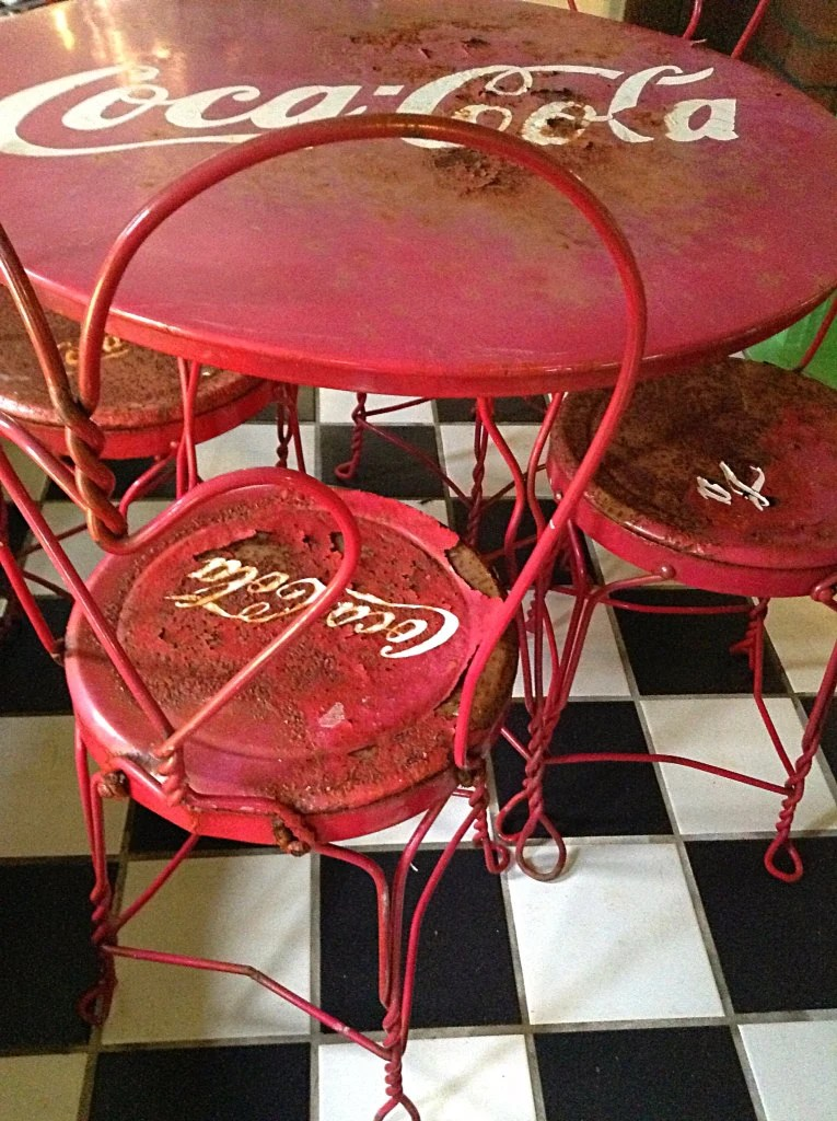 ice cream parlor table and chairs outside lawn sold to stacey vintage coca-cola