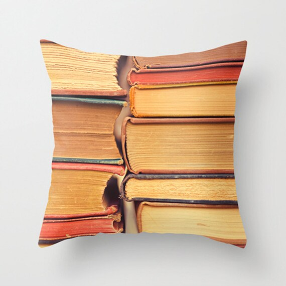 Pillow Cover Decorative Book Pillow Orange Pillow Books Library Pillow Decoration 16 x 16