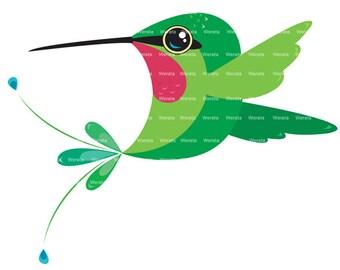 hummingbird clip art digital