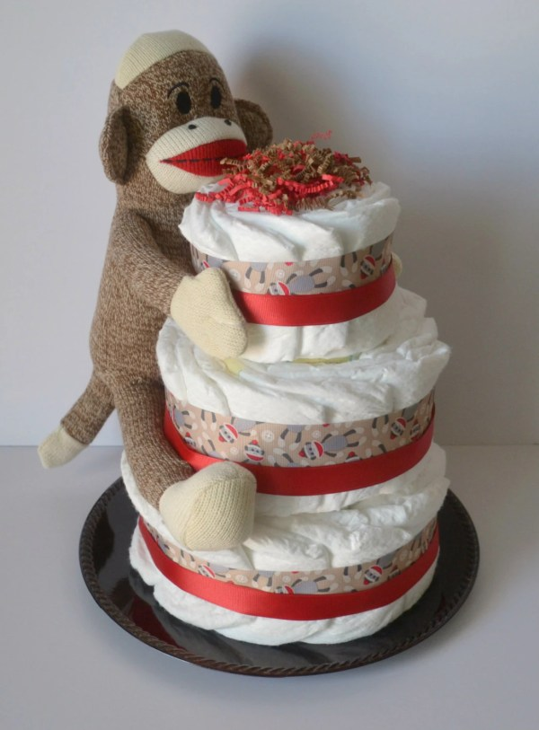Sock Monkey Diaper Cake-red And Brown
