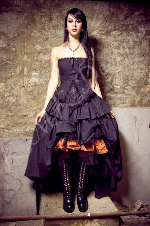 Steampunk Alternative Wedding Dress Black Kirsten Gothic