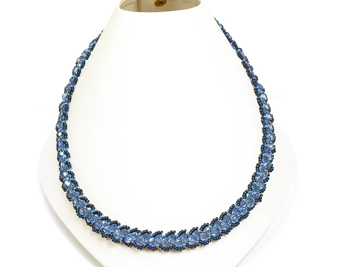 Mystique Blue Necklace - Handmade, Beaded,  Blue, Collar, Necklace, fire polished Czech crystal beads, Glass seed beads Jewelry - Florist