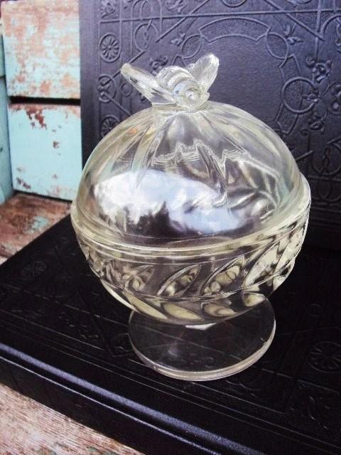 Vintage Honey Bee Glass Pedestal Jar By Primitivepincushion
