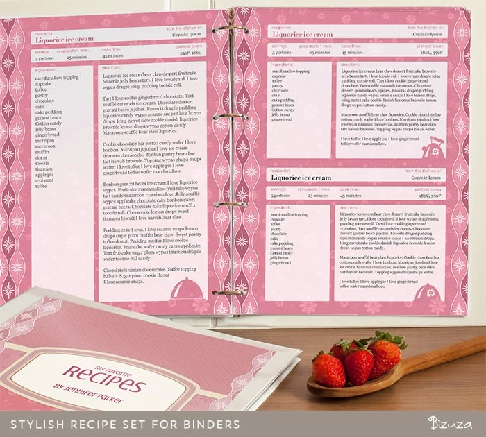 Recipe Binder Set Printable Recipe Pages Binder Cover by