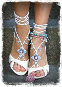 White Bridal Barefoot Sandals Beach Wedding Kundalini