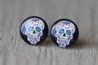 Sugar Skull Earrings : Skeleton Candy Skull Stud by ...