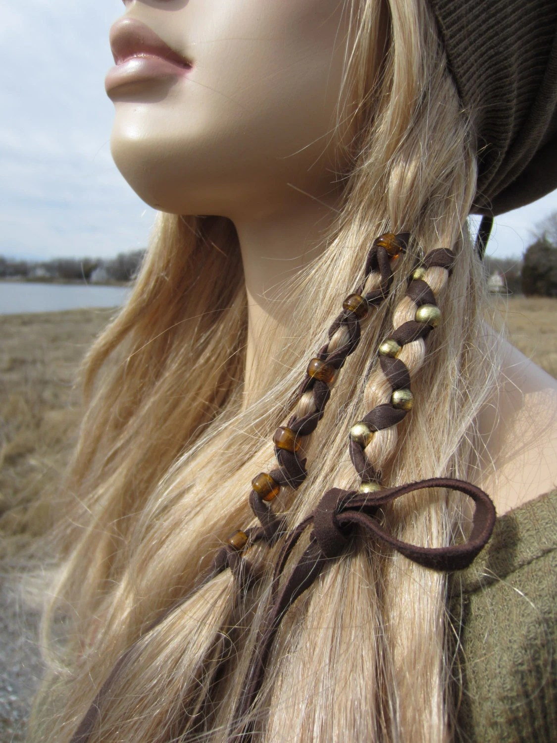 2 Bohemian Style Hair Wraps Ponytail Holders Leather Feather