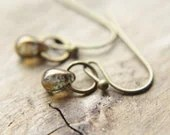 Tiny Coffee Earrings - Custom Petite Czech Glass Modern Drop Handmade Brass Jewelry Gifts for Her. - TheNorthWayStudio