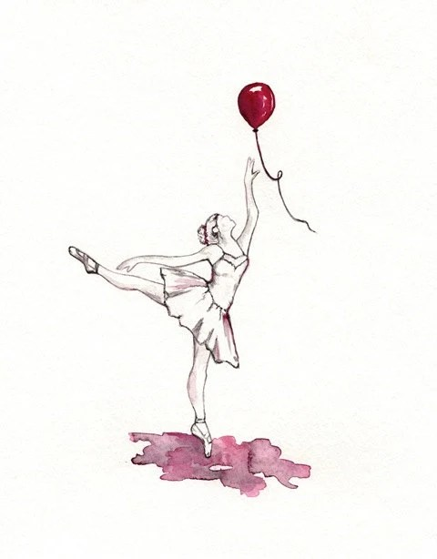 Relax and let it go /  Red, gray/ watercolor print / - kellybermudez