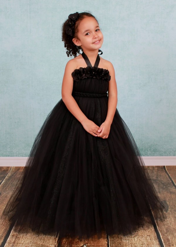 Flower Girl Tutu Dress Black Cutiepatootiedesignz