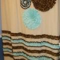 Aqua and brown shower curtain shower curtain custom made designer