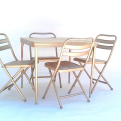 Card Table And Chairs Salon Waiting Room Vintage Folding By Durham Manufacturing