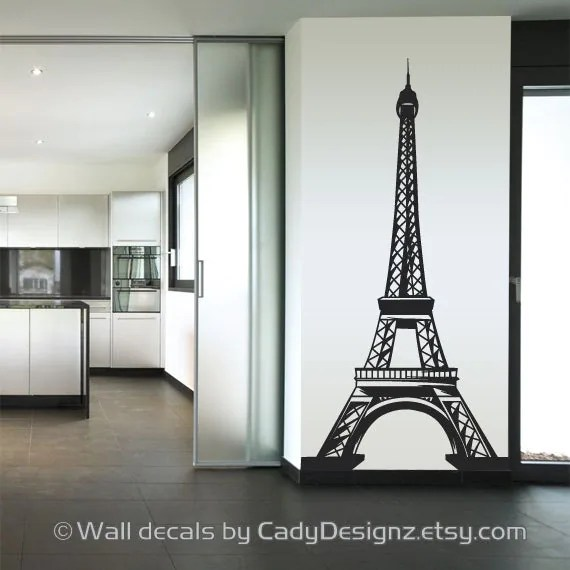 Eiffel Tower Vinyl Wall Decal  Home Decor  Nursery Wall Decals  Paris Decal  French Theme