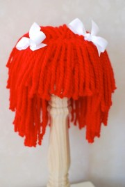 yarn hair wig red with white ribbons