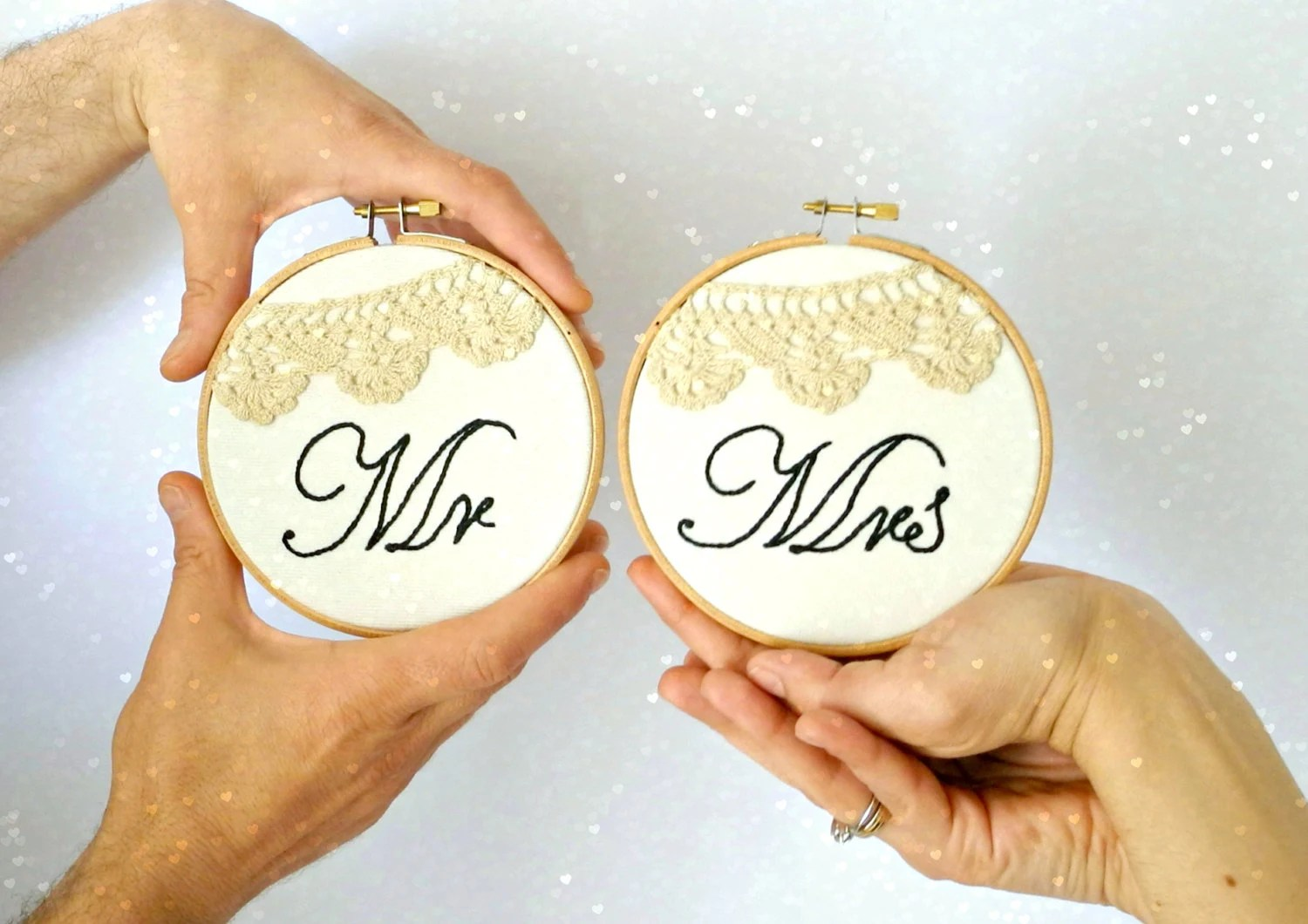 Mr & Mrs Wedding Sign Crochet Lace Wedding By HoopsyDaisies