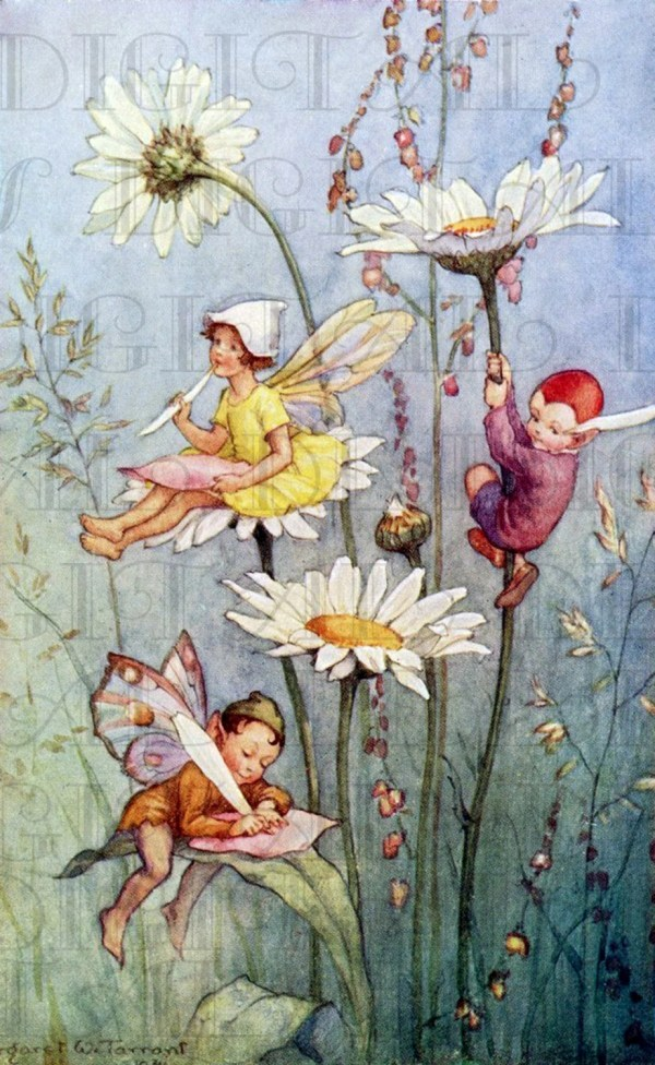 Fairy Writing Flowers. Vintage Book Plate Illustration