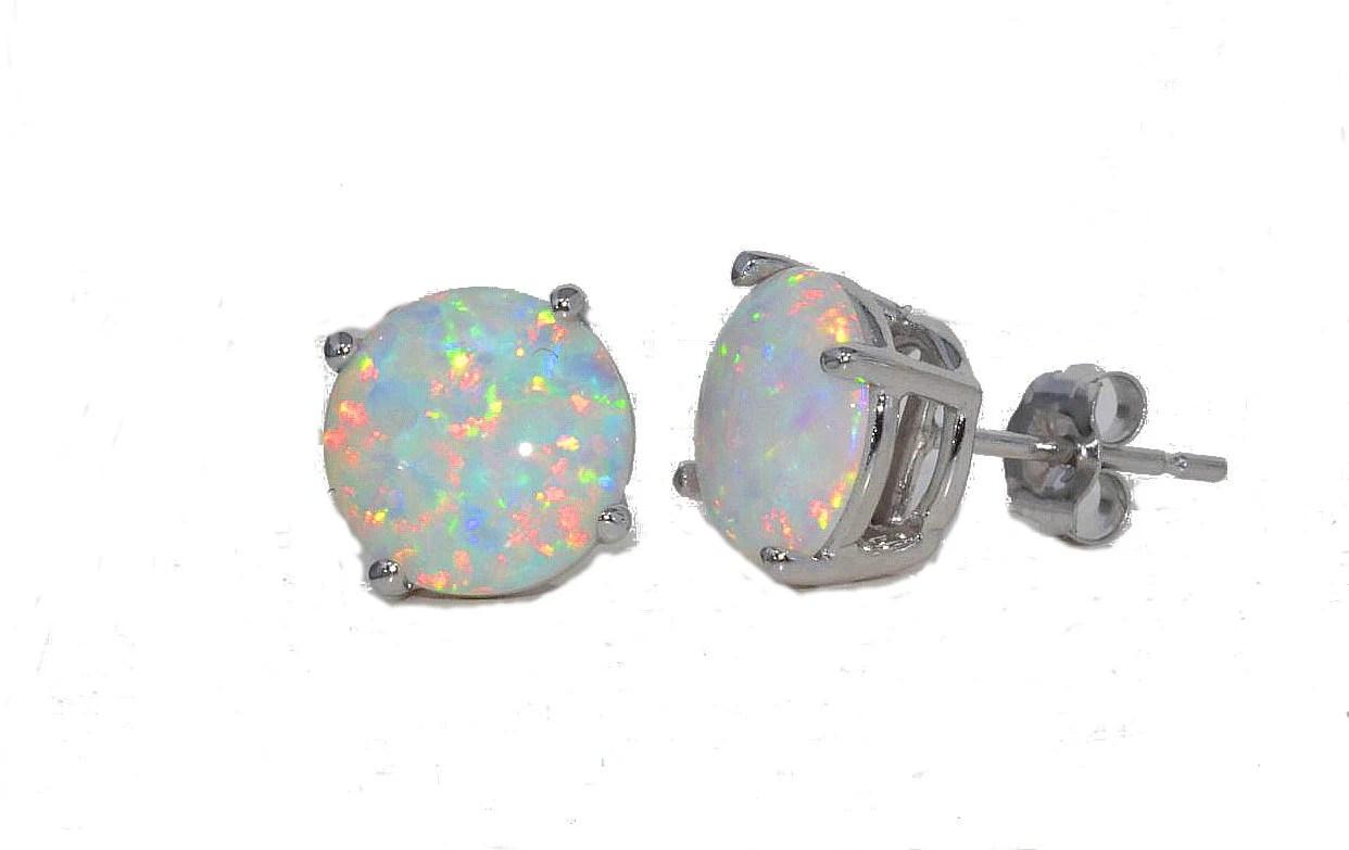 Opal Stud Earrings White Gold Quality