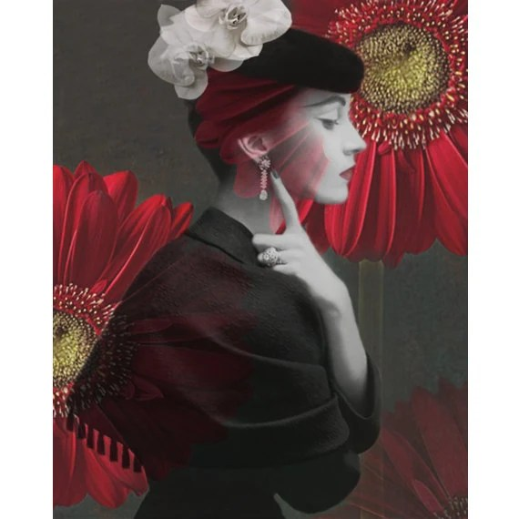 Red flower vintage goddess photomontage digital art print