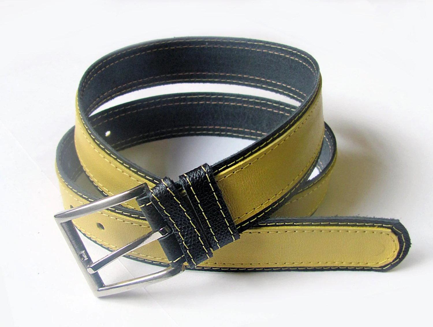 Leather belt in Yellow and Black color, ALL SIZES - erikasbelts