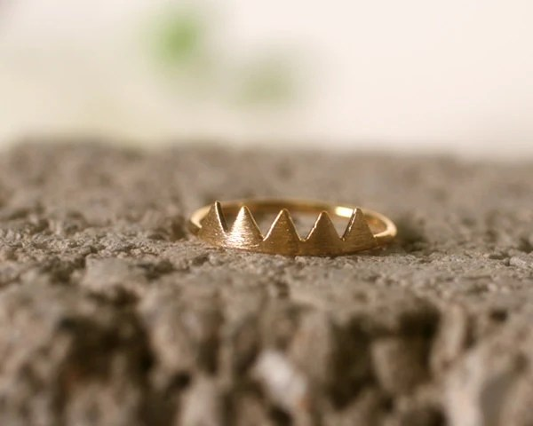 Unique Arrowhead, Mountain peaks, Chevron triangle ring. Choose your Color and Size. Gold or Silver - DoubleBJewelry