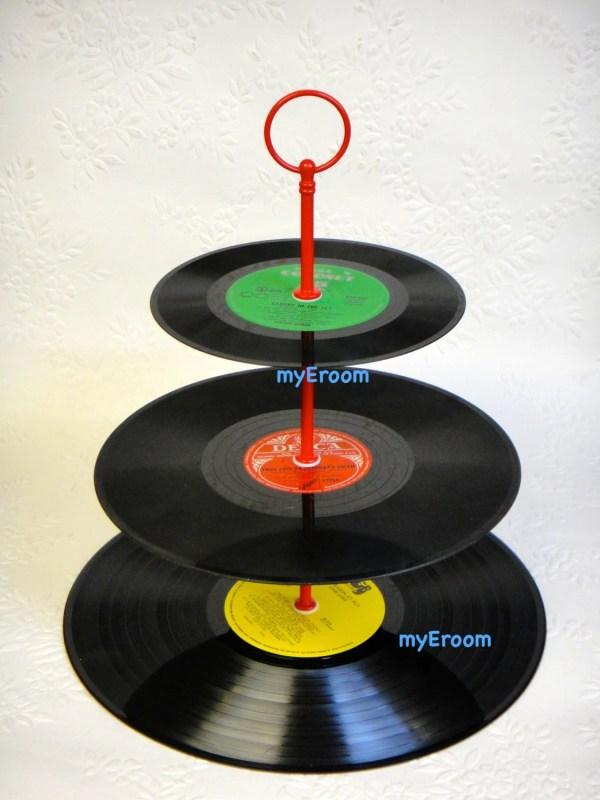 3 Tier Vinyl Record Cupcake Stand Retro Cake