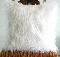 White fur pillow throw 14 X 14 fluffy white fur white suede