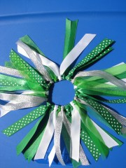 green hair ribbons pony scrunchie