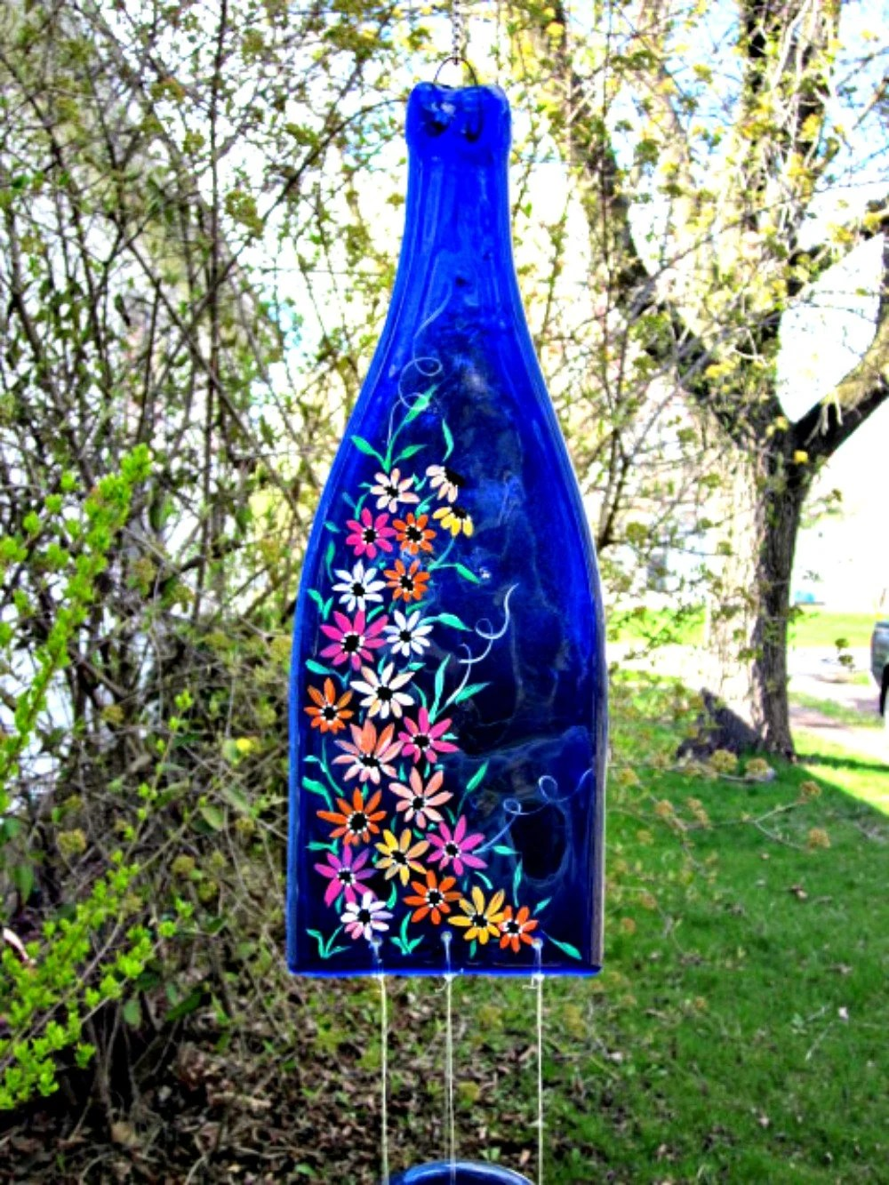 kitchen dish soap dispenser water filter for sink wine bottle recycled wind chime blue hand painted