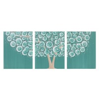 Teal Wall Art Decor Tree Acrylic Painting on Triptych Canvas