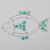 Wire and Stained Glass Fish Suncatcher Home Decor by ...