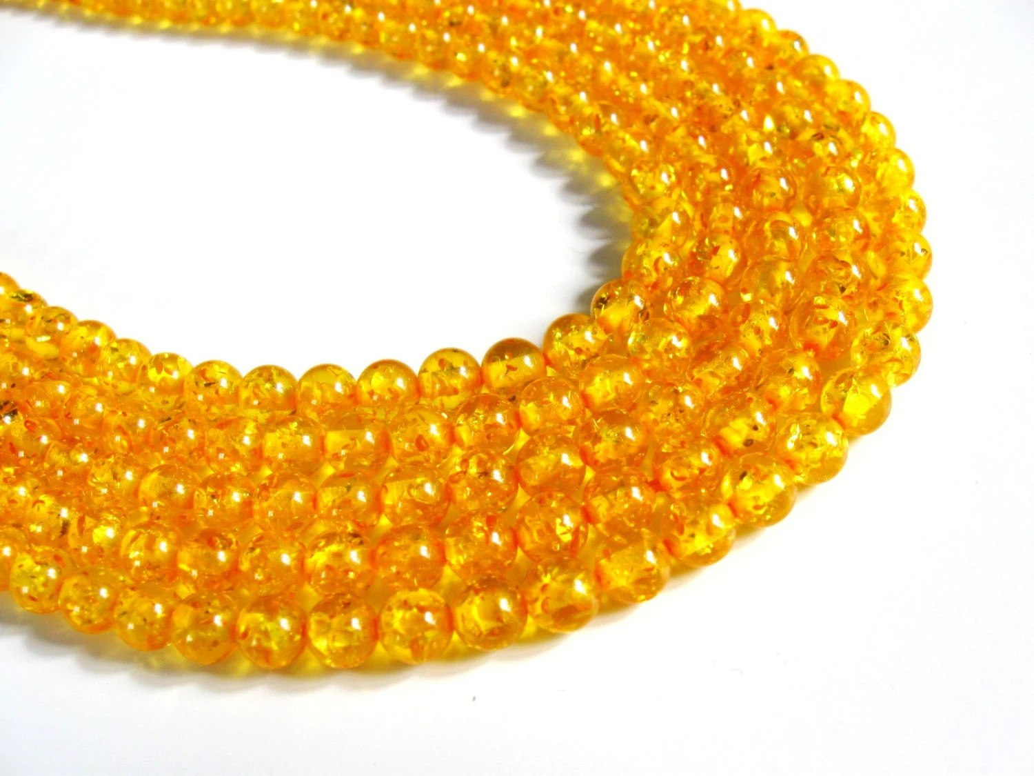 66 pcs Yellow Round Beads 6mm Vintage beads - AnnyMayCraftSupplies