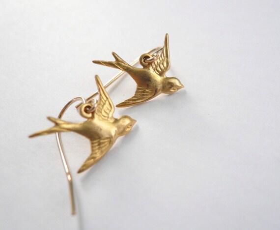 Little gold bird earrings. Brass gold birds on 14K gold fill