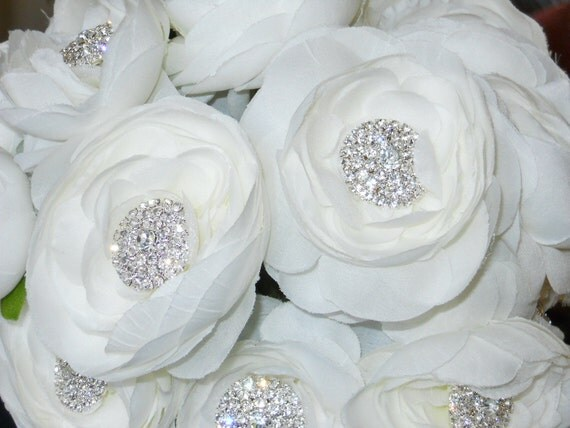 Bridal  Wedding bouquet Bling bouquet with White Ranunculas