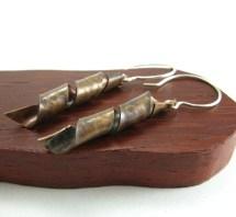 Metal Ribbon Earrings Corkscrew Mixed