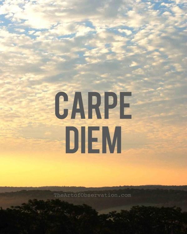 Carpe Diem Art Inspirational Quote Sunrise Print