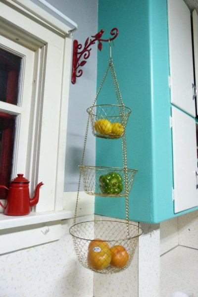 hanging kitchen basket Vintage 3 Tier Wire Hanging Kitchen Basket Brass Color
