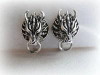 Cloud Wolf Stud Earrings in Sterling Silver Final Fantasy