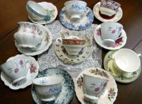 10 MISMATCHED Cups and Saucers Lot Tea Party or Vintage