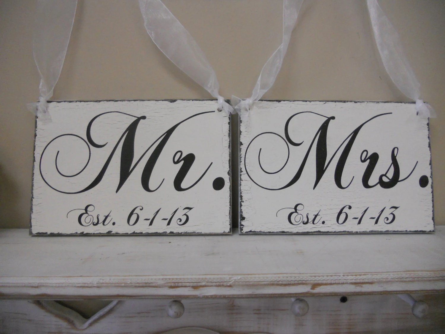 mr and mrs chair signs covers for ikea henriksdal with established date wedding