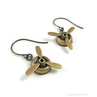 Propeller Earrings Inspired by Amelia Earhart Airplane