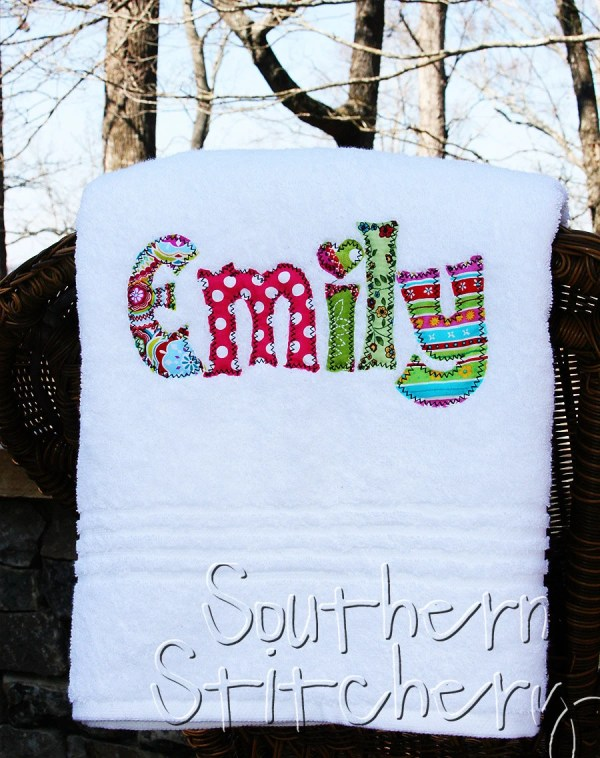 Applique Name Towel Personalized Bath Towel Great Gift for